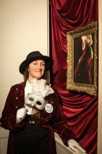 At the launch party, with the Pimpernel portrait