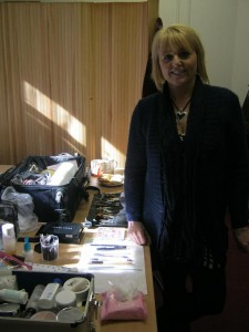 Sue, with her impressive armoury of makeup implements