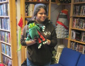 Noor with Academic Cthulhu in the splendid ICSF library