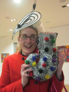 Sarah McKintyre with her Black Tentacle, which goes rather well with her hat.
