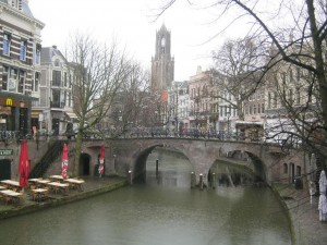 Medieval canals with Dom Tower in the distance