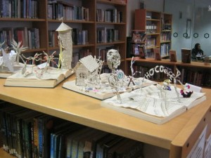 Some of the paper sculptures on display in Altrincham Grammar's library